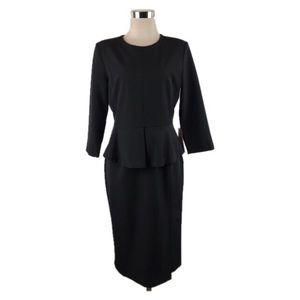 NWT Zara Basic Collection Black Peplum Dress Sz L